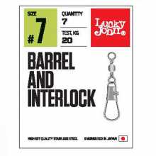 Вертлюги LUCKY JOHN c застеж. LJ Pro Series BARREL AND INTERLOCK Black 014 5 уп. по 10 шт